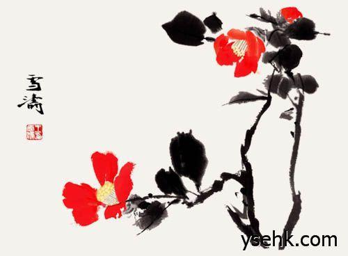 齐白石 山茶花图片